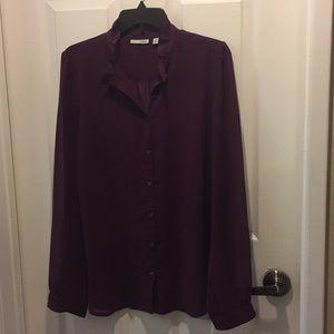 Halogen Purple Sheer Button Down Top